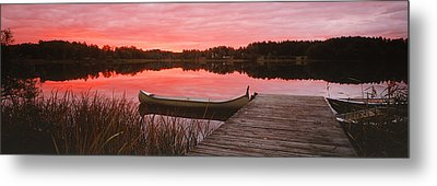 Canoe Tied To Dock On A Small Lake Metal Print by Panoramic Images