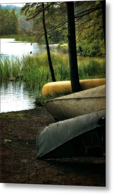 Canoe Trio Metal Print by Michelle Calkins