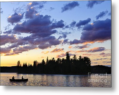 Canoeing At Sunset Metal Print by Elena Elisseeva