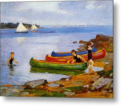 Canoeing Metal Print by Edward Potthast