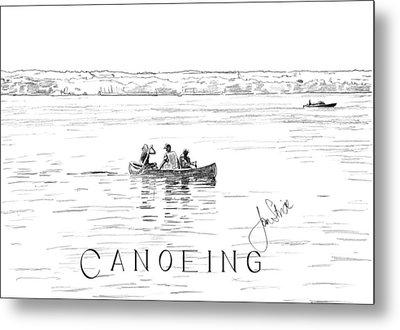 Canoeing On The Lake Metal Print by Jan Stride