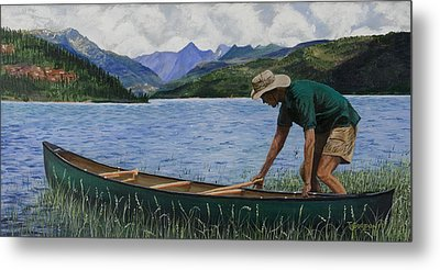 Canoeing Vallecito Metal Print by Timithy L Gordon