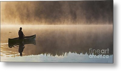 Canoeist On A Golden Misty Morning Metal Print by Barbara McMahon