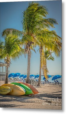 Canoes And Palms - Higgs Beach Key West - Hdr Style Metal Print by Ian Monk