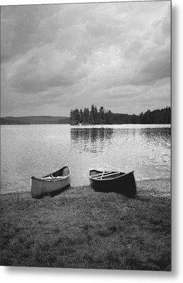 Canoes - Canisbay Lake - B N W Metal Print