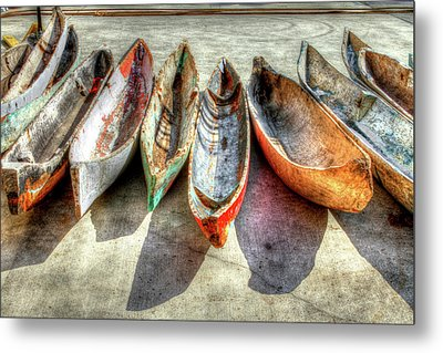 Canoes Metal Print by Debra and Dave Vanderlaan