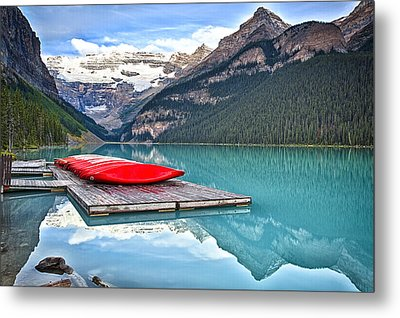 Canoes Of Lake Louise Alberta Canada Metal Print
