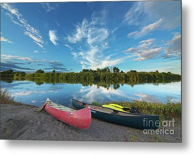 Canoes With Clouds Reflecting  Metal Print by Yva Momatiuk John Eastcott