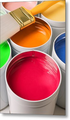 Cans Of Colored Paint Metal Print by Garry Gay
