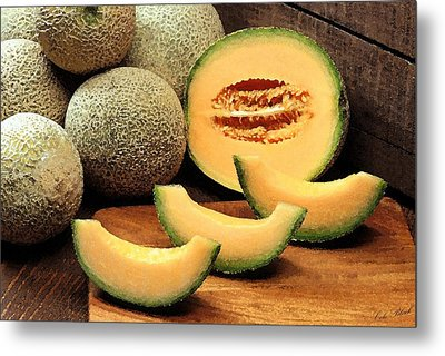 Cantaloupe Slices Metal Print by Cole Black