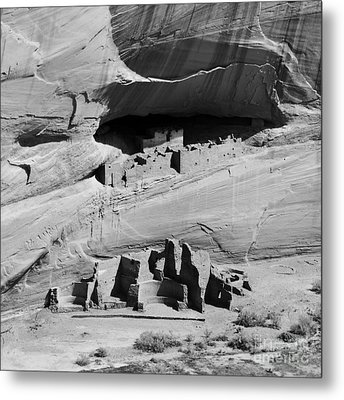 Canyon De Chelly Anasazi White House Ruin Arizona Square Format Black And White Metal Print by Shawn O'Brien