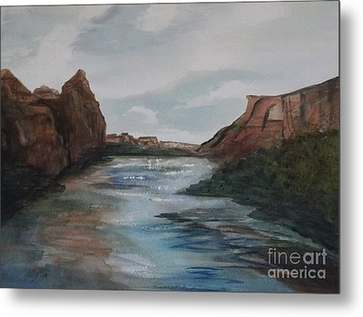 Metal Print featuring the painting Canyon De Chelly by Ellen Levinson