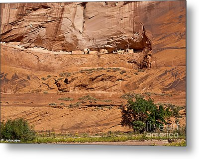 Canyon Dechelly Whitehouse Ruins Metal Print by Bob and Nadine Johnston