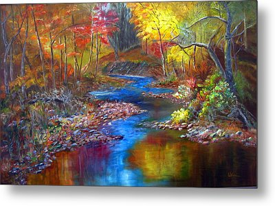 Metal Print featuring the painting Canyon River by LaVonne Hand