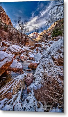 Canyon Stream Winterized Metal Print by Christopher Holmes