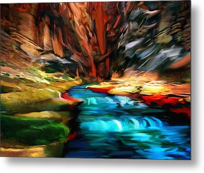 Canyon Waterfall Impressions Metal Print