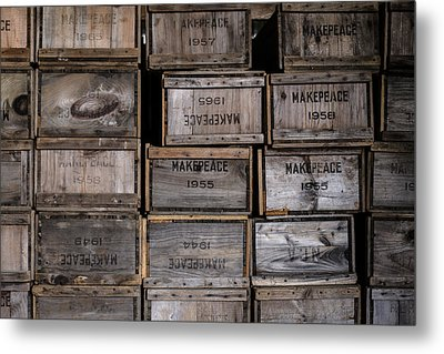 Cape Cod Cranberry Crates Metal Print by Andrew Pacheco