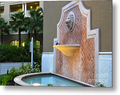 Cape Coral Florida Fountain Metal Print by Timothy Lowry