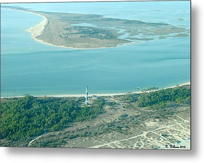 Cape Lookout Lighthouse From The Air Metal Print by Dan Williams