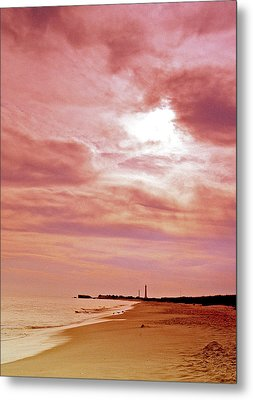 Cape May New Jersey Sunset With Lighthouse In The Distance Metal Print