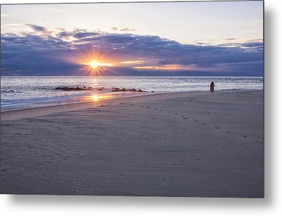 Cape May Point Winter Sunset Metal Print