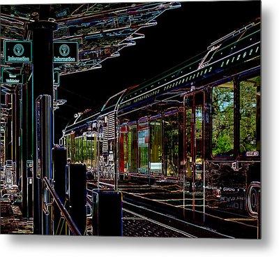 Capital Metro Rail In Neon Metal Print