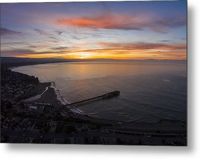 Capitola Wharf Sunrise Metal Print by David Levy