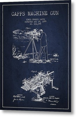 Capps Machine Gun Patent Drawing From 1899 - Navy Blue Metal Print by Aged Pixel