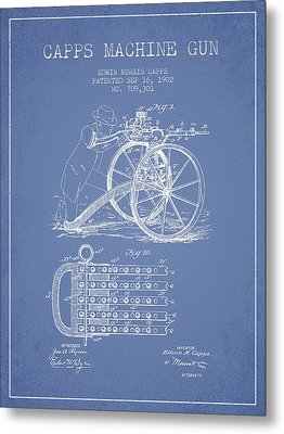 Capps Machine Gun Patent Drawing From 1902 - Light Blue Metal Print by Aged Pixel
