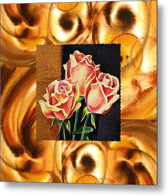 Cappuccino Abstract Collage French Roses Metal Print by Irina Sztukowski