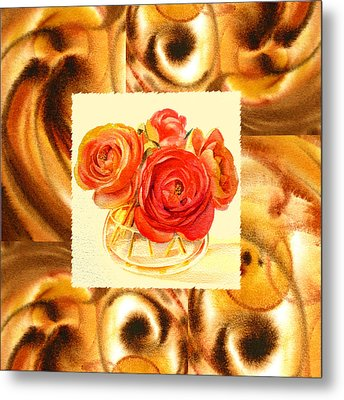 Cappuccino Abstract Collage Ranunculus   Metal Print by Irina Sztukowski