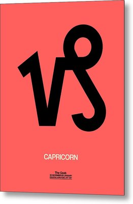 Capricorn Zodiac Sign Black Metal Print by Naxart Studio