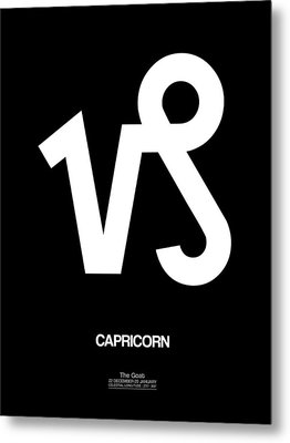 Capricorn Zodiac Sign White Metal Print by Naxart Studio
