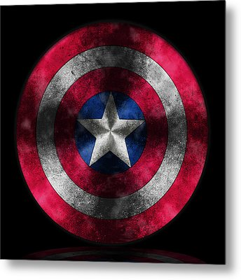 Captain America Shield Metal Print by Georgeta Blanaru