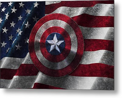Captain America Shield On Usa Flag Metal Print by Georgeta Blanaru