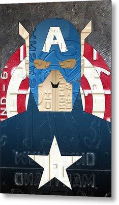 Captain America Superhero Portrait Recycled License Plate Art Metal Print
