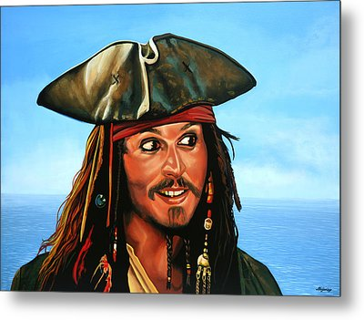 Captain Jack Sparrow Painting Metal Print by Paul Meijering
