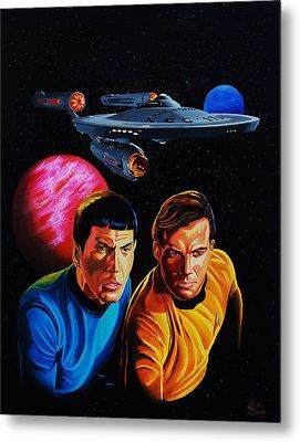 Captain Kirk And Mr. Spock Metal Print by Robert Steen
