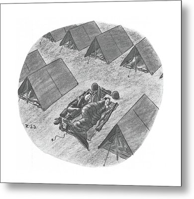Captionless Top Has Blown Off Tent. Two Soldiers Metal Print by Robert J. Day