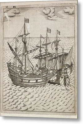 Capture Of The The Spanish Galleon Metal Print by British Library