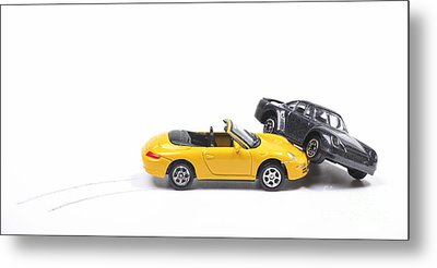 Car Crash Between Sportscar And Sedan Metal Print