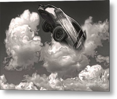 Metal Print featuring the painting Car Crash In The Clouds by Gregory Dyer