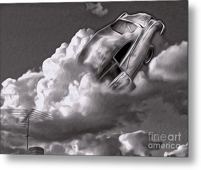 Metal Print featuring the painting Car Crash In The Clouds - Number 2 by Gregory Dyer