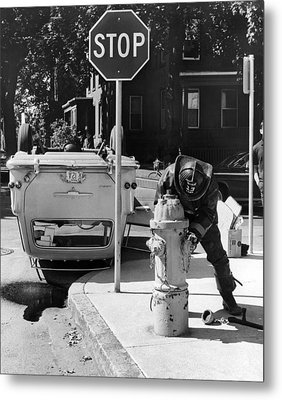 Car Flips Over At Stop Sign Metal Print by Underwood Archives
