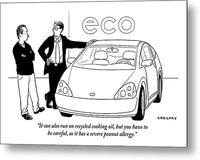Car Salesman To Prospective Buyer As He Leans Metal Print by Alex Gregory