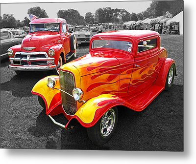 Car Show Fever - 54 Chevy With A 32 Ford Coupe Hot Rod Metal Print