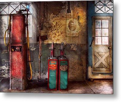 Car - Station - Gas Pumps Metal Print by Mike Savad
