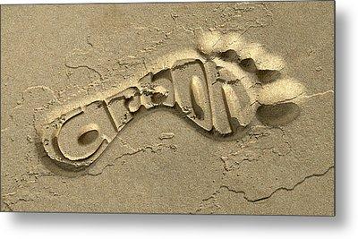 Carbon Footprint In The Sand Metal Print by Allan Swart