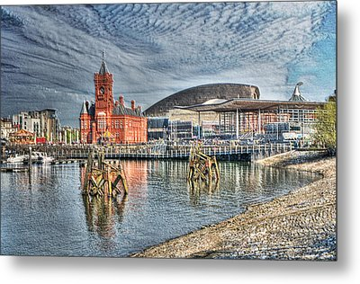 Cardiff Bay Textured Metal Print by Steve Purnell