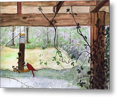 Cardinal-back Porch Picnic Metal Print
